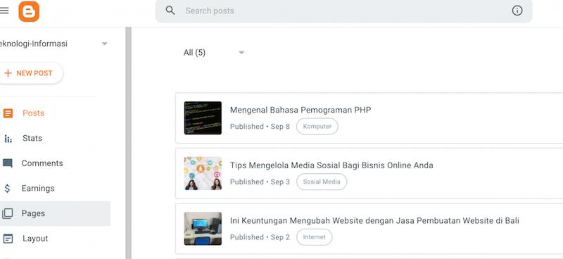 Membuat page, post dan label di blogger.com
