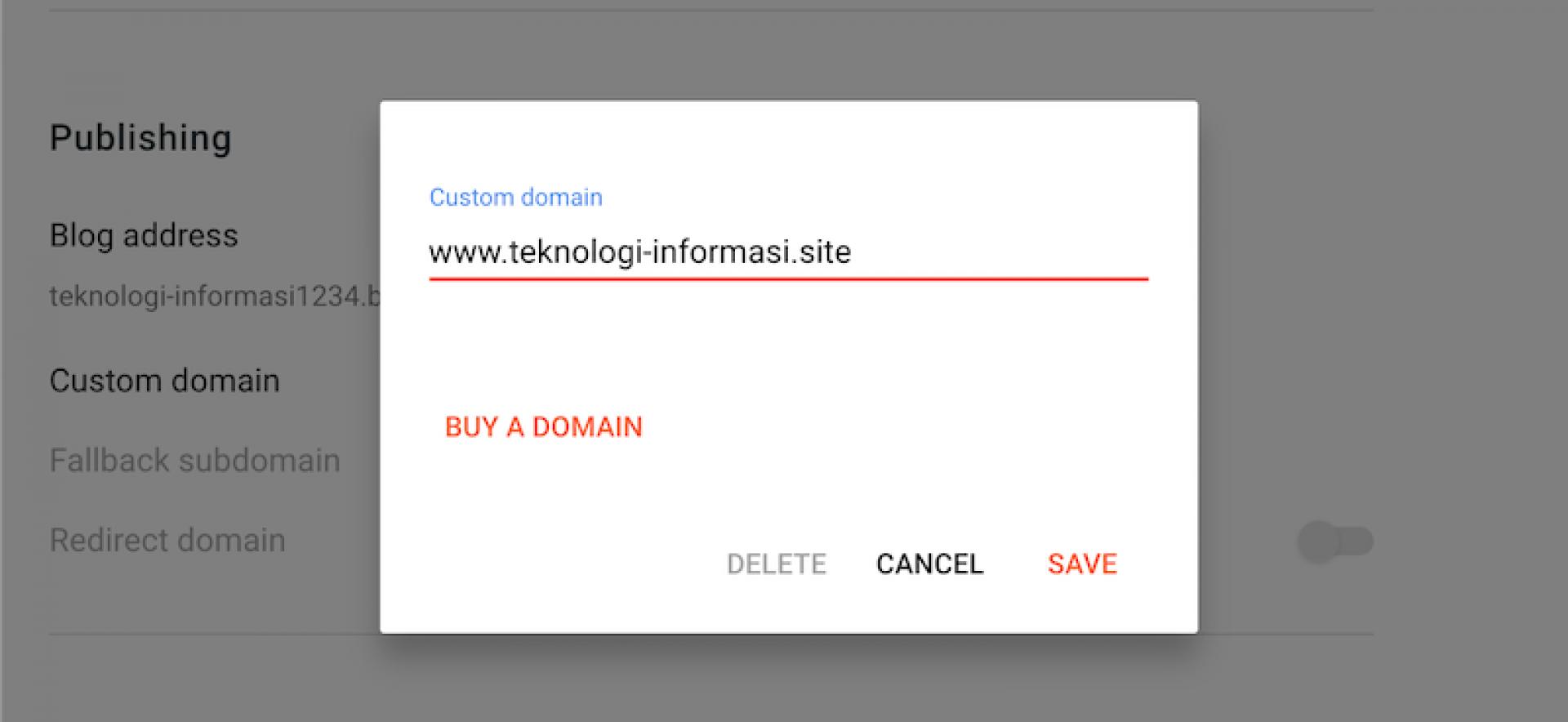 Pengaturan Custom Domain di Blogger.com